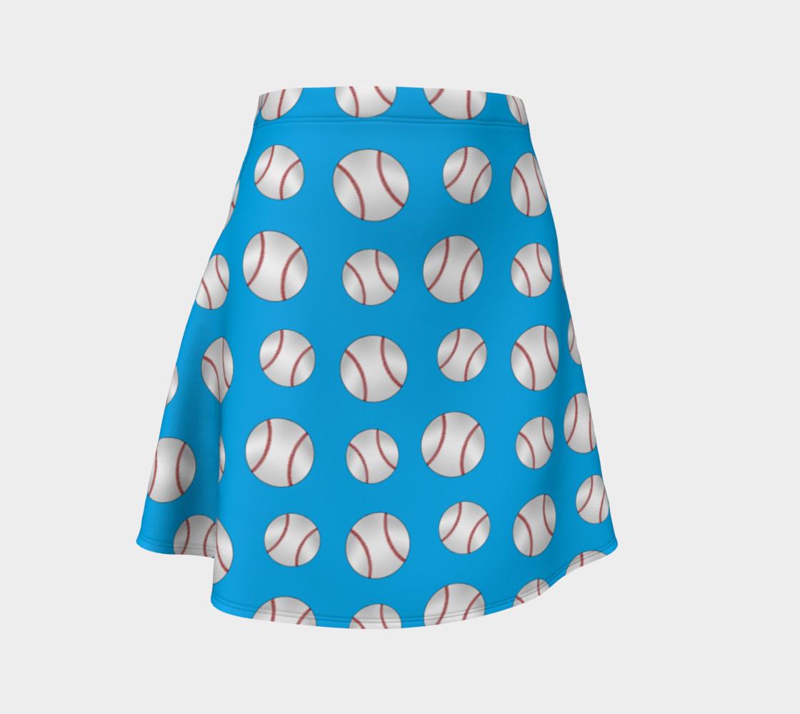 Sky blue baseball pattern skirt preview #1