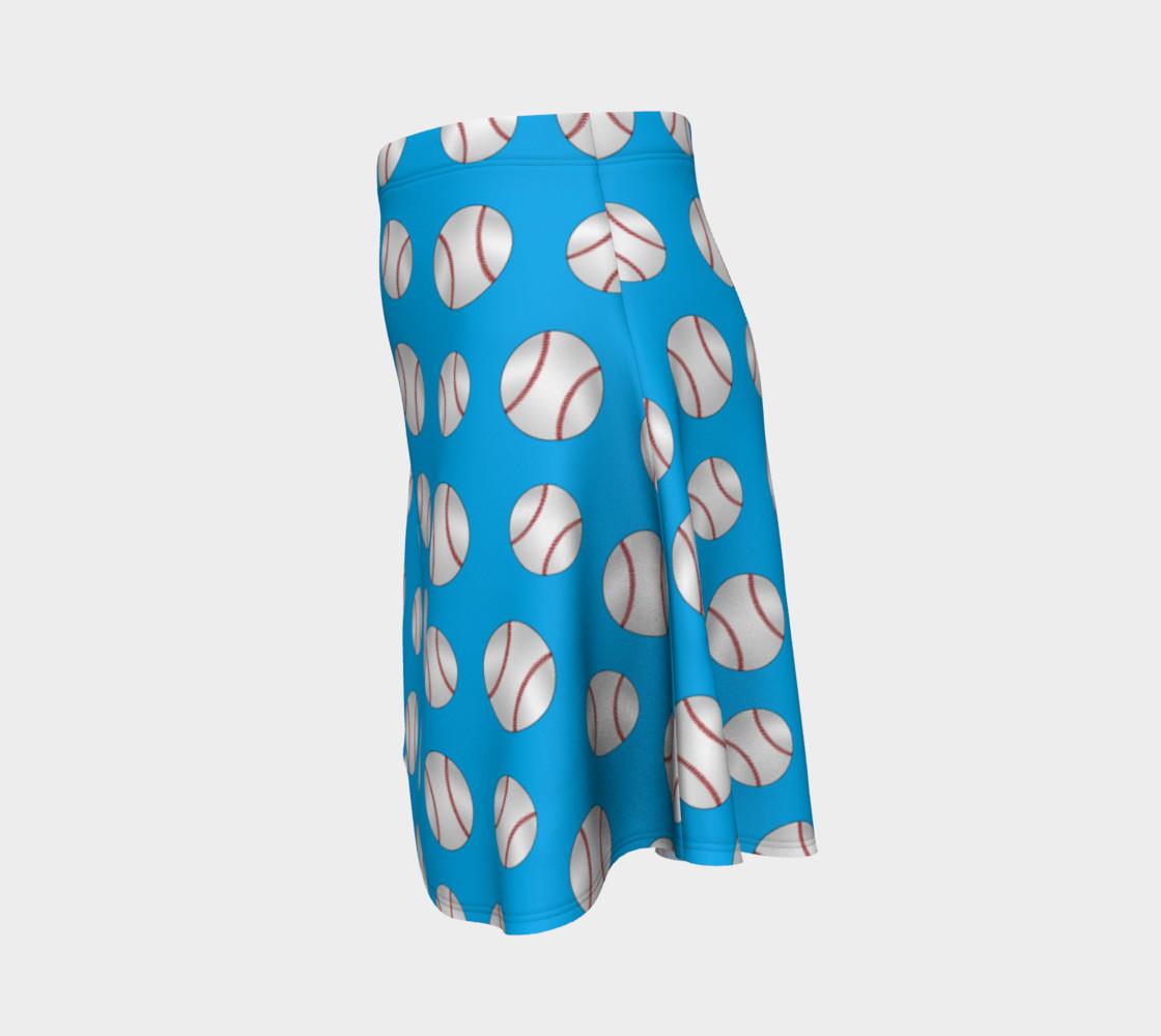 Sky blue baseball pattern skirt preview #2