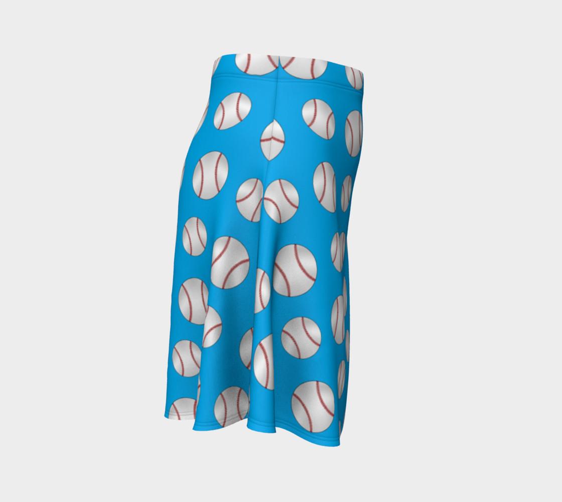 Sky blue baseball pattern skirt preview #3