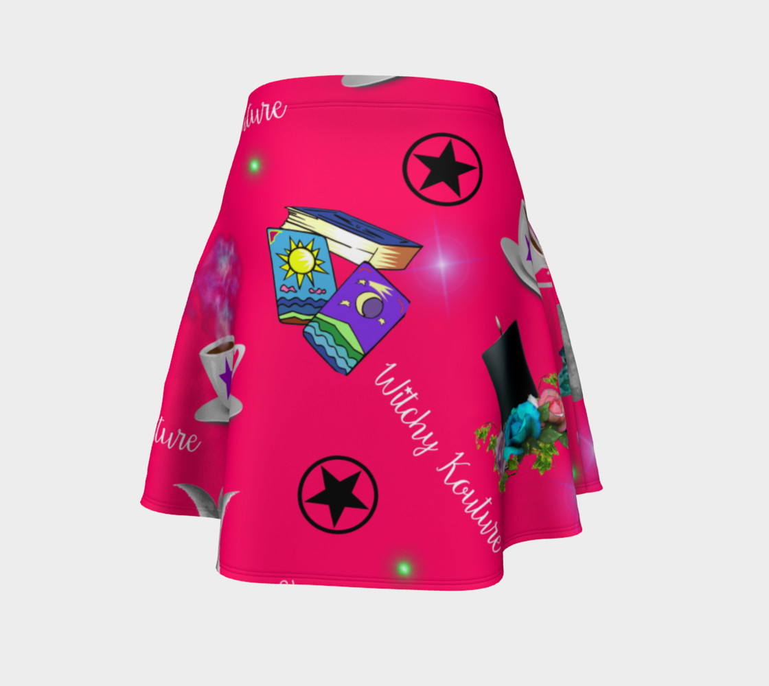 WK #ModernWitchLife Pink Print Flare Skirt preview #4