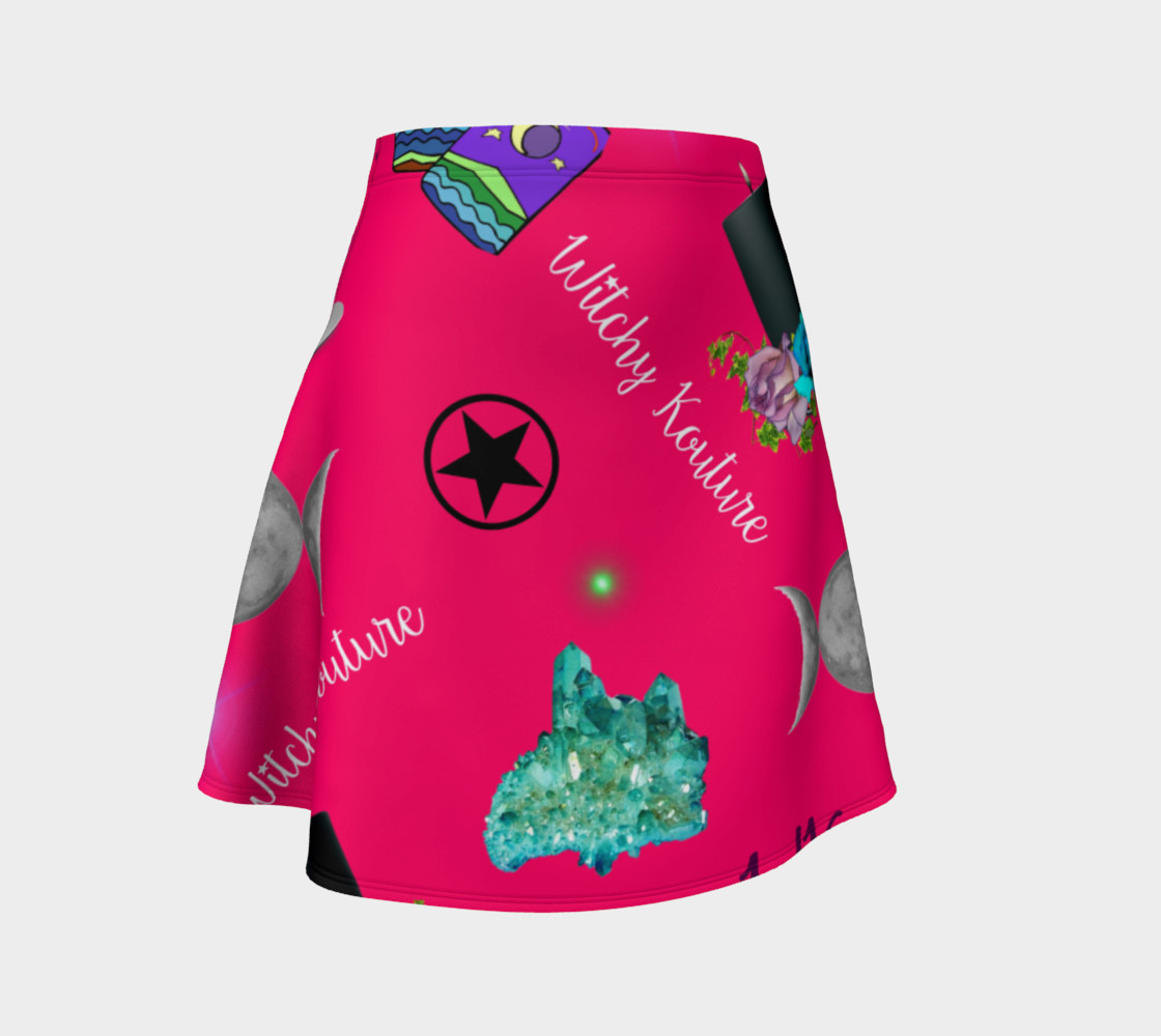 WK #ModernWitchLife Pink Print Flare Skirt preview #1