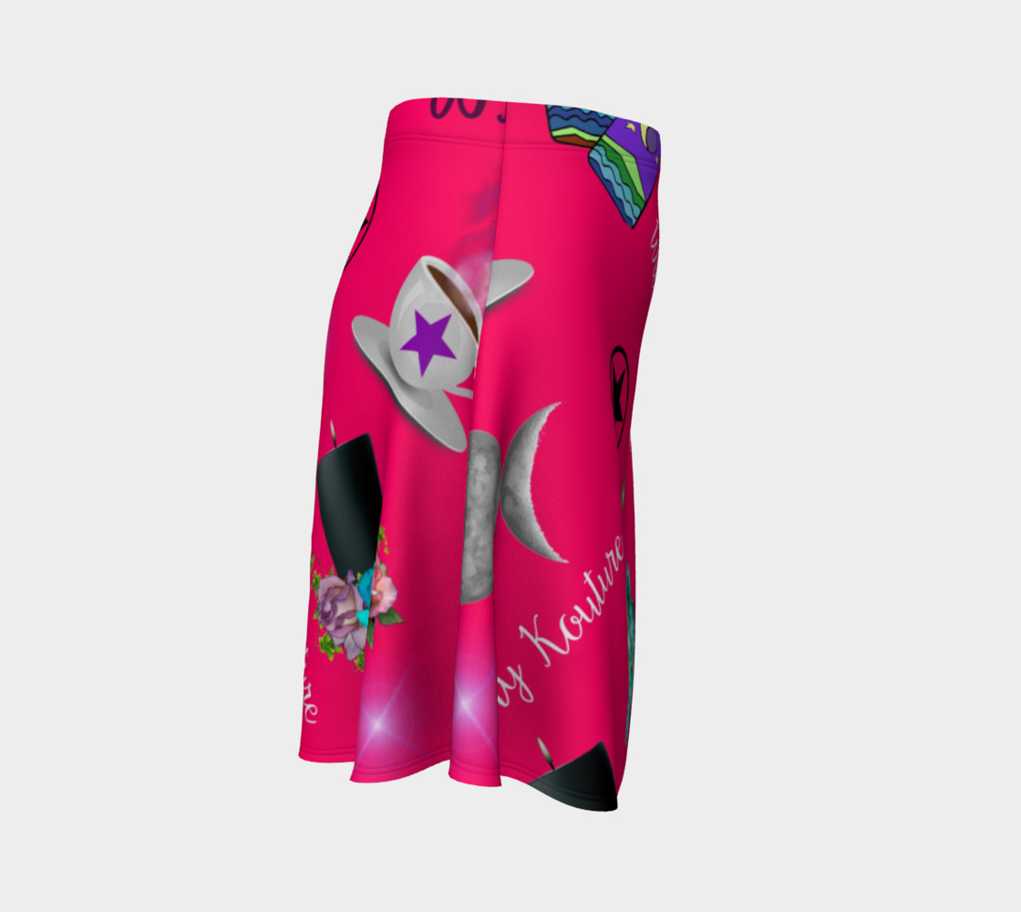 WK #ModernWitchLife Pink Print Flare Skirt preview #3