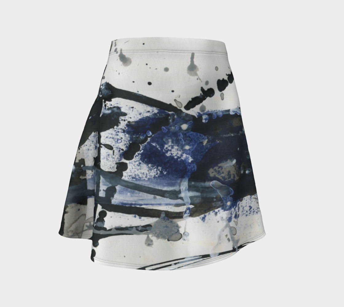 Black, White, and Blue Flare Skirt preview #1