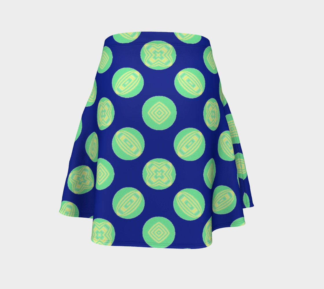Retro Green Yellow Circles on Blue  preview #4