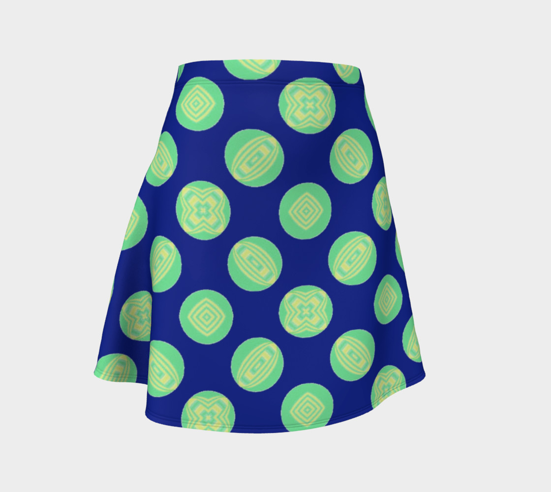 Retro Green Yellow Circles on Blue  preview #1