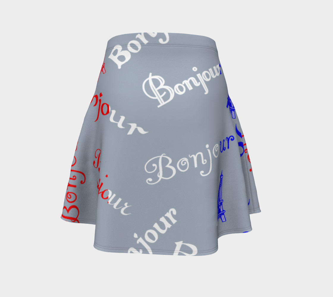 French Flag Bonjour Flare Skirt preview #4