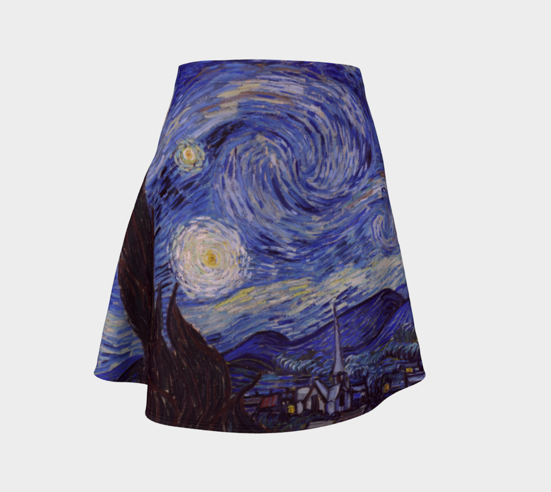 Vincent Van Gogh Starry Night Flare Skirt preview #1