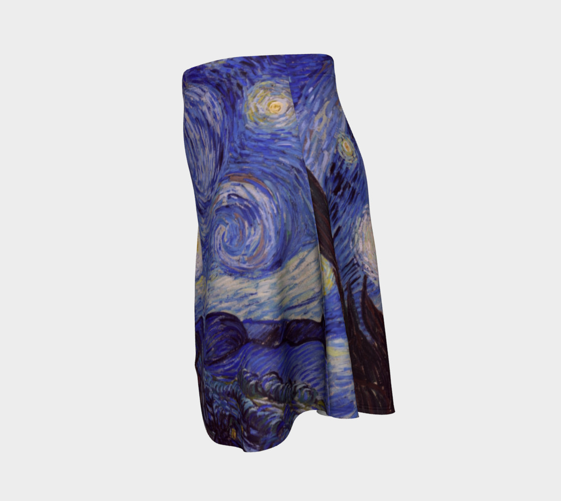 Vincent Van Gogh Starry Night Flare Skirt preview #2