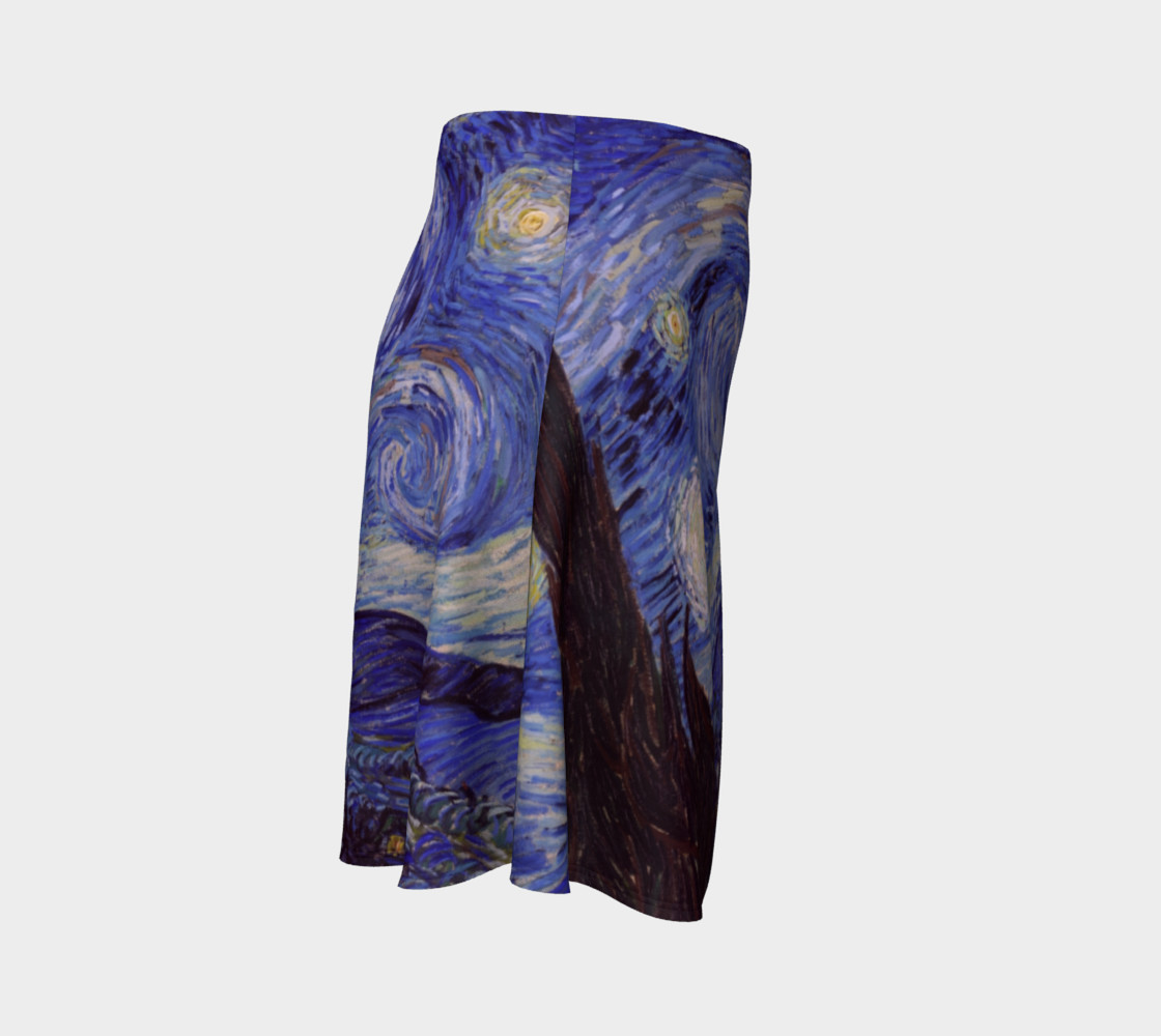 Vincent Van Gogh Starry Night Flare Skirt preview #3