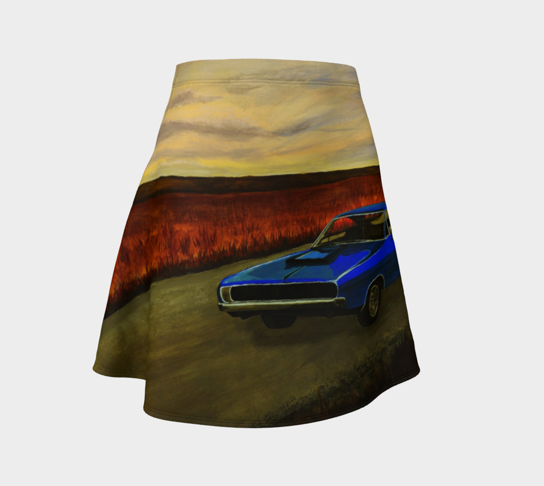Blue Classic Car A-line Flare Skirt Miniature #2