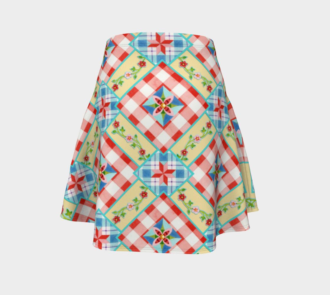 Aperçu de Cottage Chic Gingham Flare Skirt #4