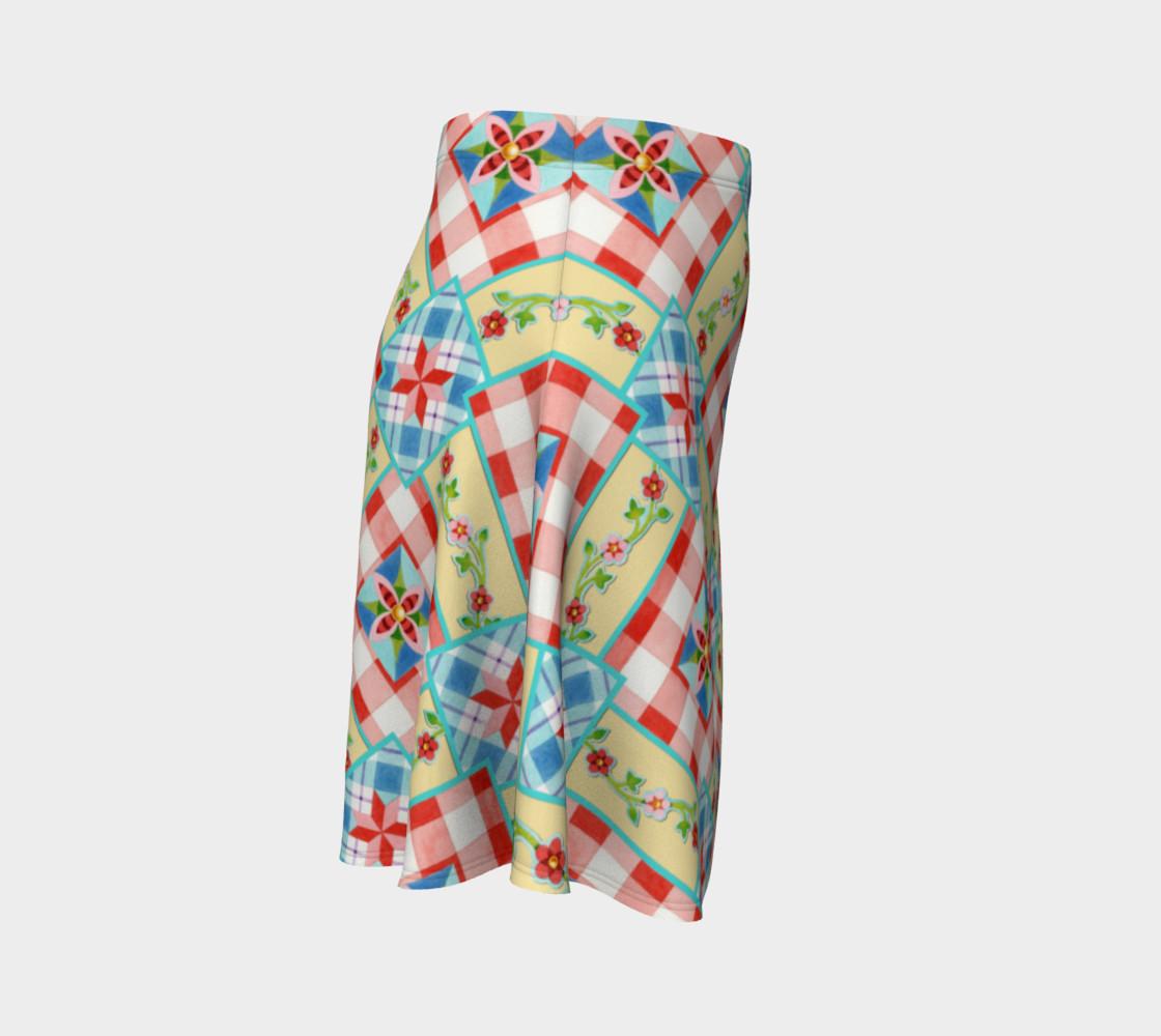 Aperçu de Cottage Chic Gingham Flare Skirt #3