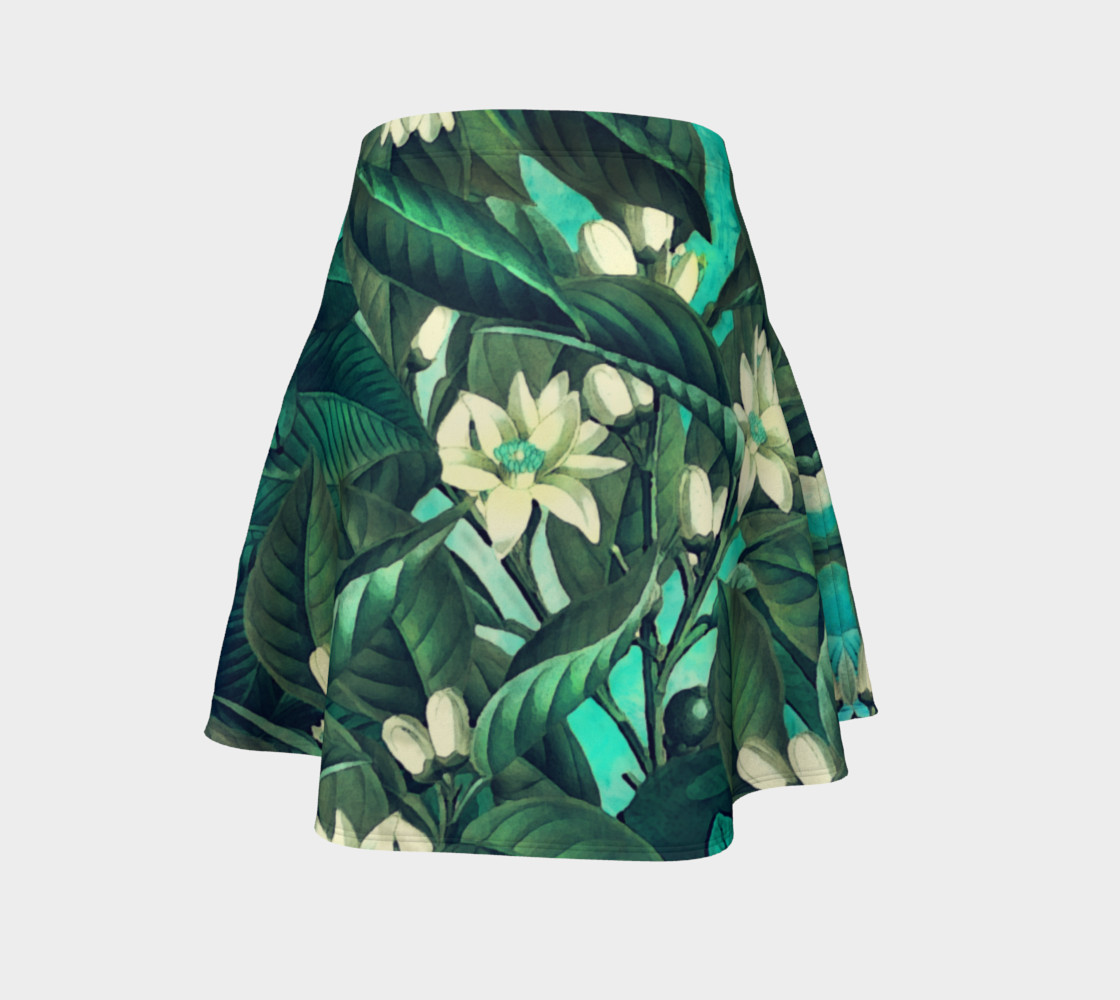 flare skirt flowers green white preview #4