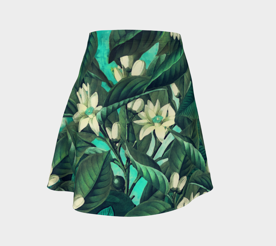 flare skirt flowers green white preview #1