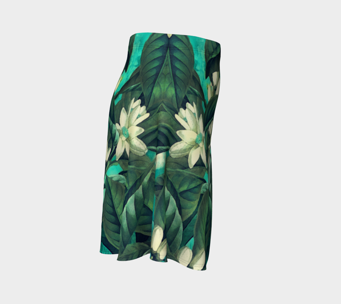 flare skirt flowers green white preview #3