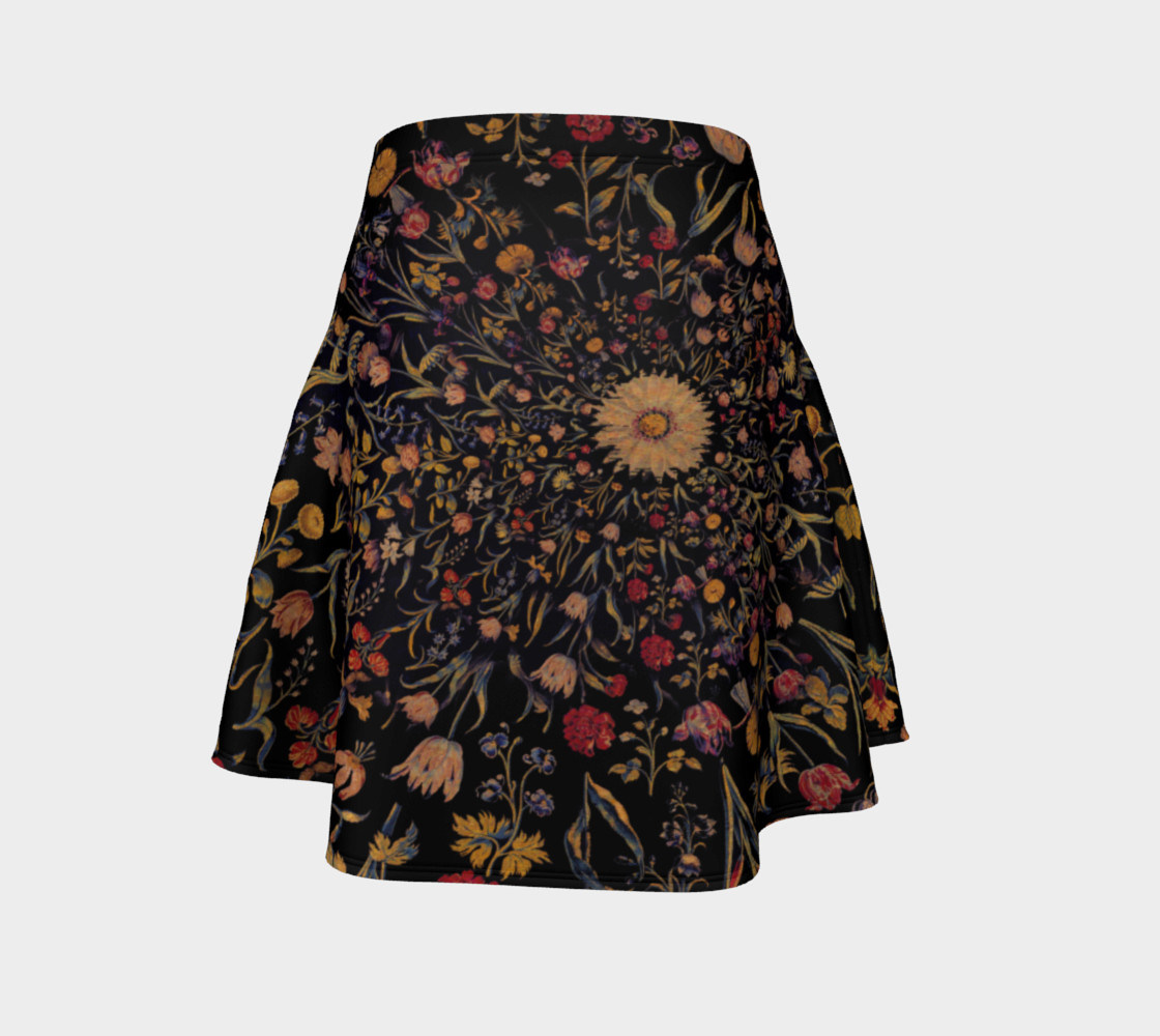 Medieval Flowers on Black Flare Skirt preview #4