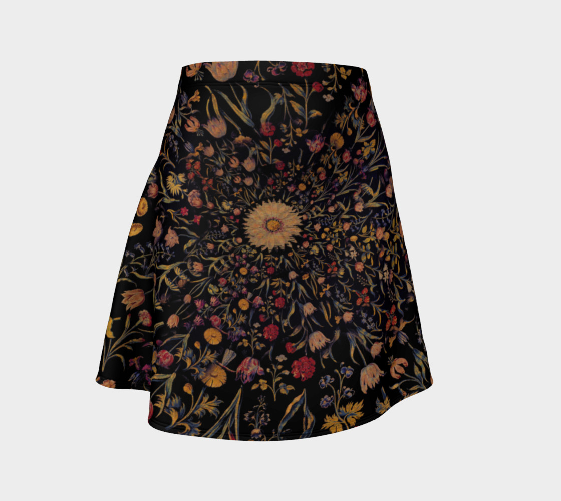 Medieval Flowers on Black Flare Skirt preview #1