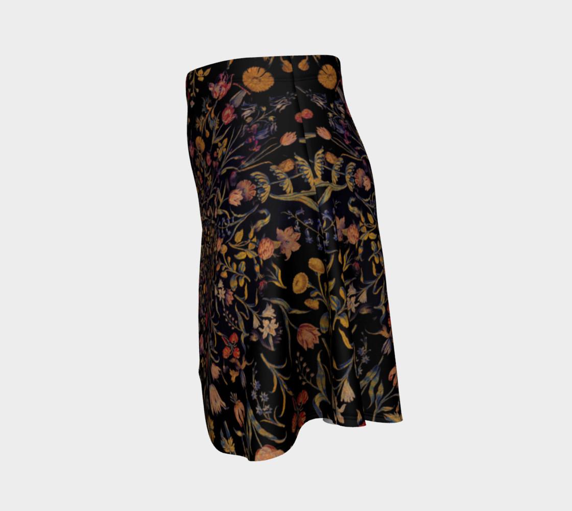 Medieval Flowers on Black Flare Skirt preview #2