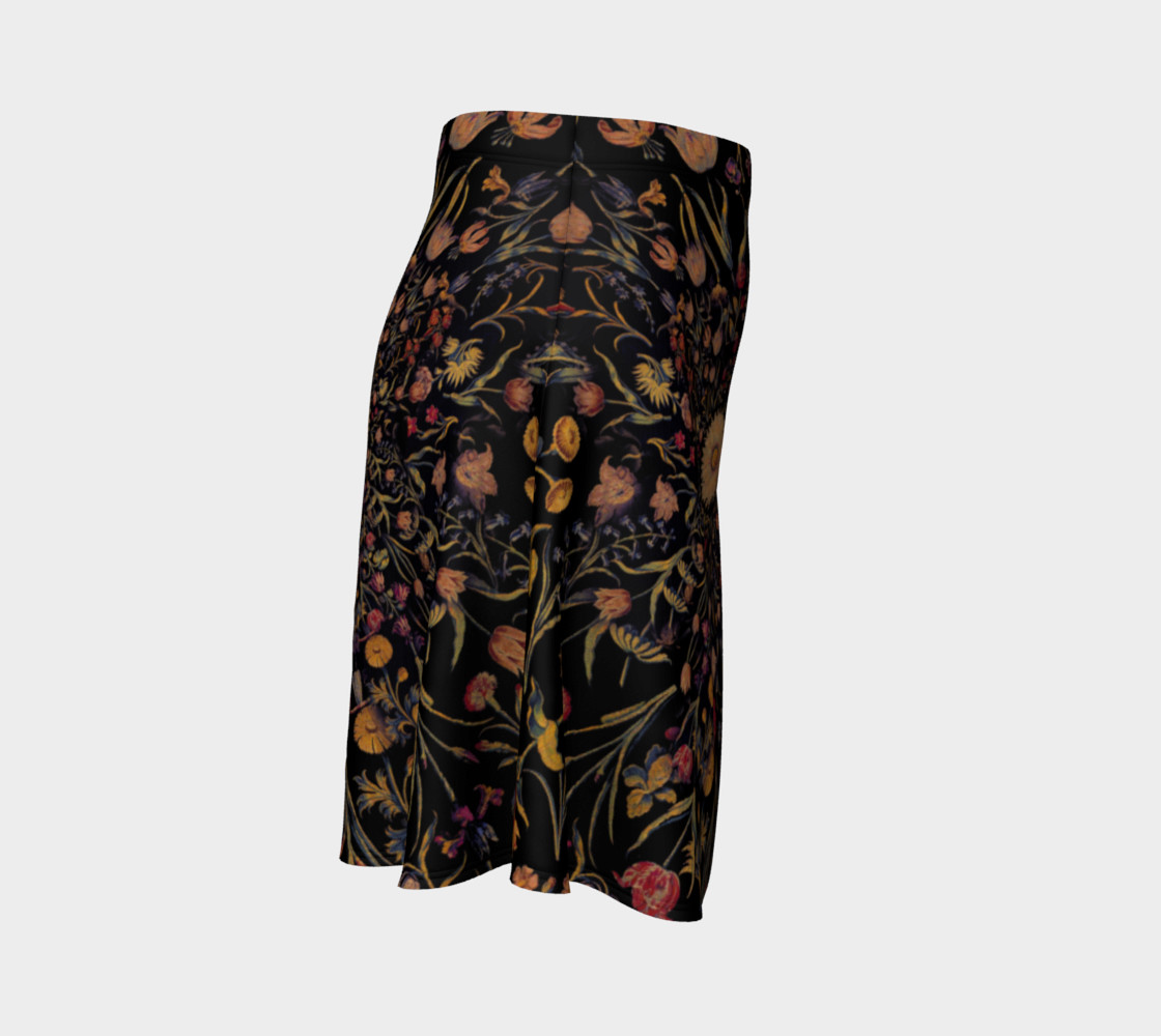 Medieval Flowers on Black Flare Skirt preview #3