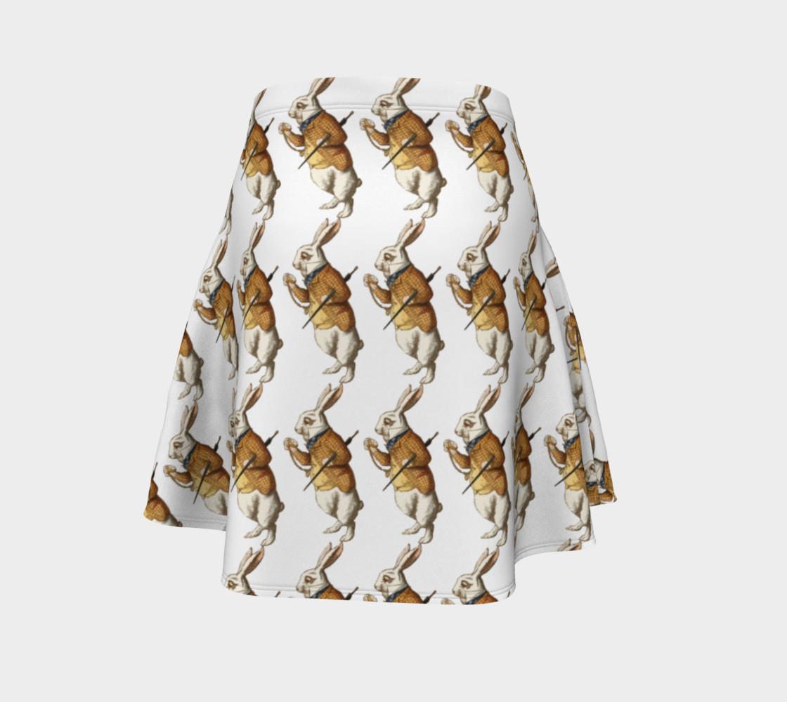 Aperçu de White Rabbit in Color from Alice in Wonderland Pattern Flare Skirt #4