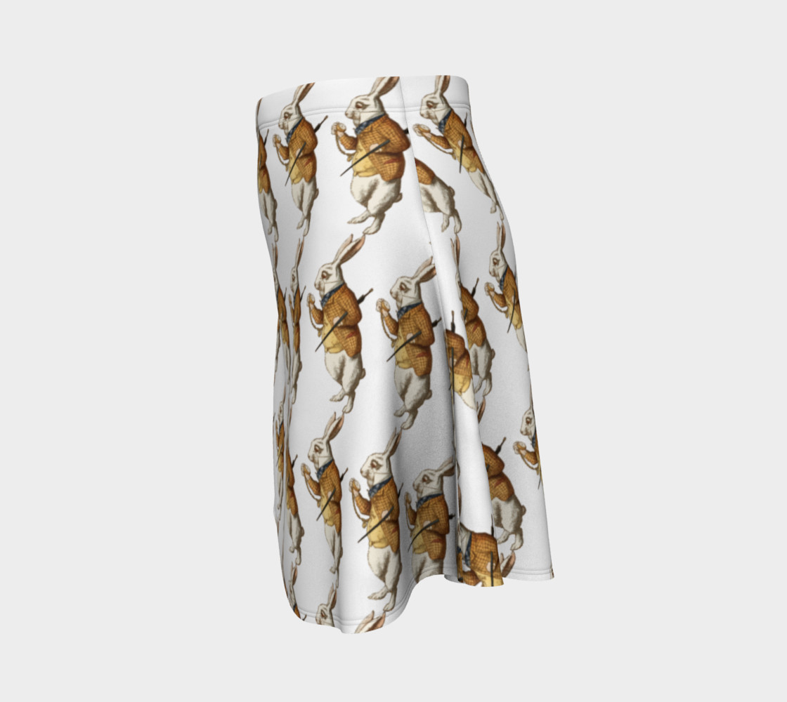 Aperçu de White Rabbit in Color from Alice in Wonderland Pattern Flare Skirt #2