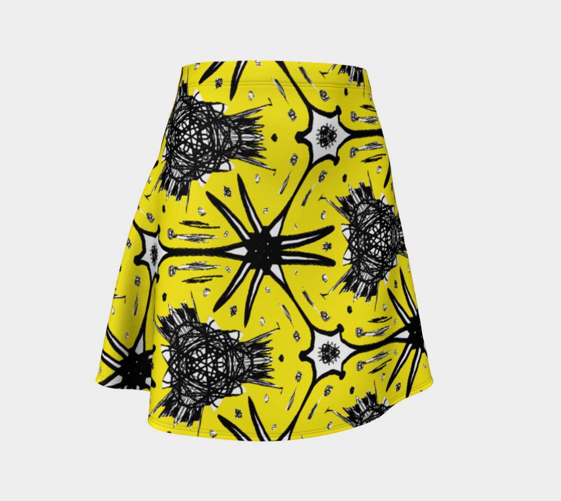 Aperçu de Moss Skirt with Abstract Yellow and Black #1