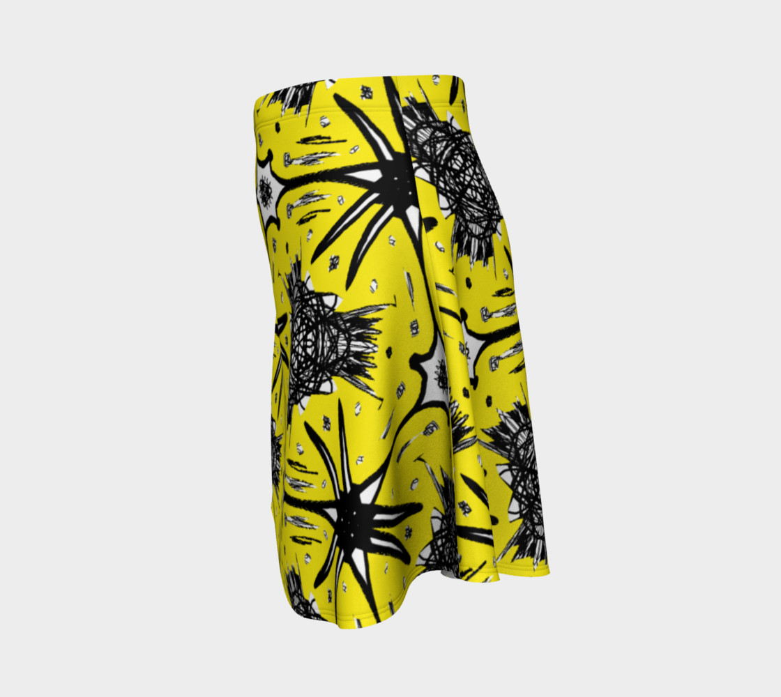 Aperçu de Moss Skirt with Abstract Yellow and Black #2