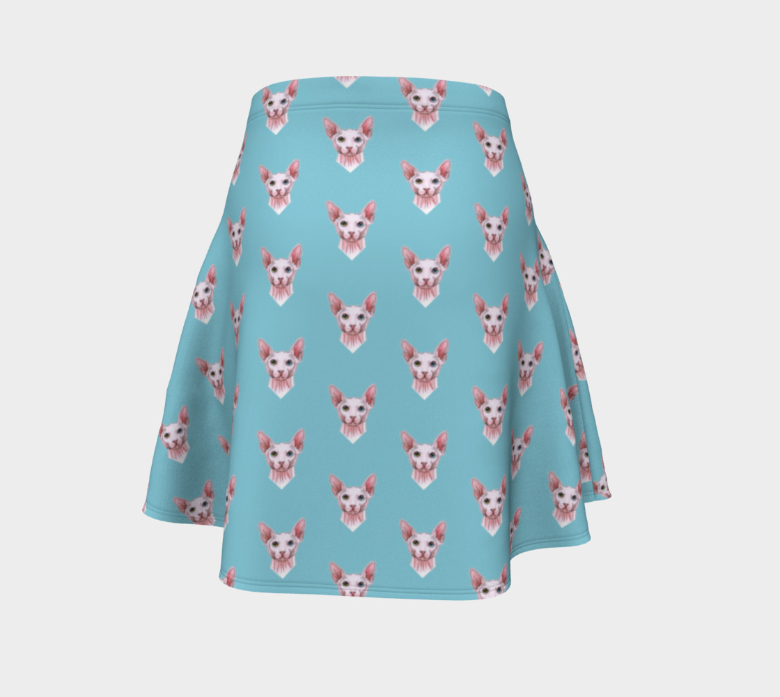 Sphynx cats pattern Flare Skirt Miniature #5