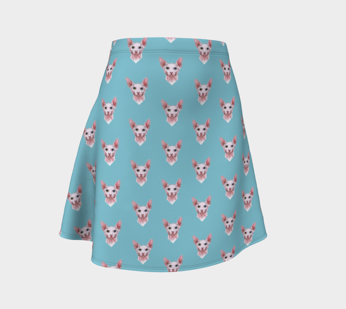 Sphynx cats pattern Flare Skirt Miniature #2