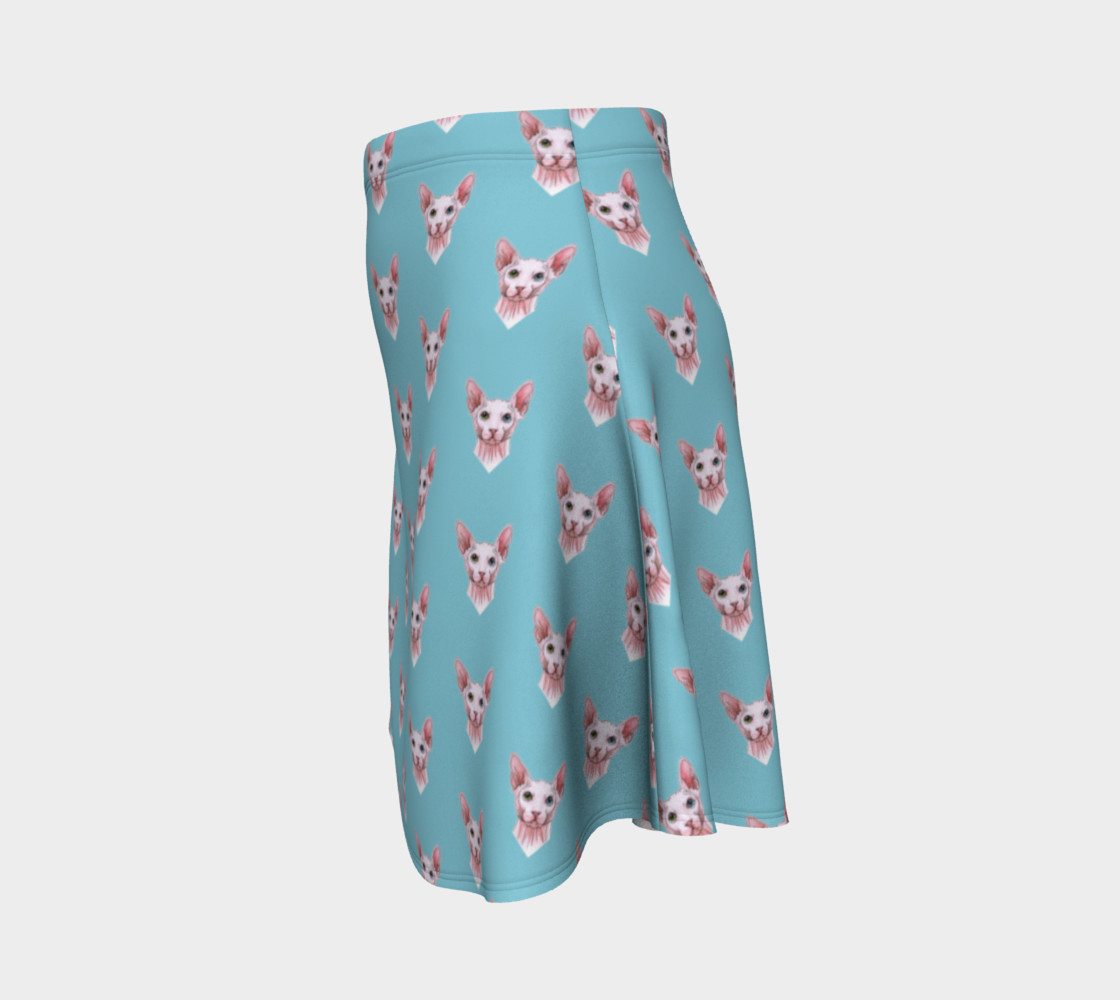 Sphynx cats pattern Flare Skirt Miniature #3