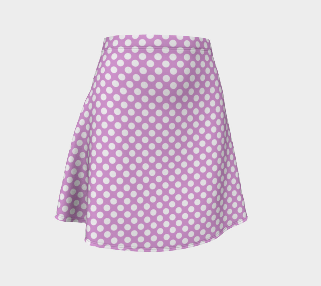 Polka Dots Pattern-Violet Flare Skirt 3D preview