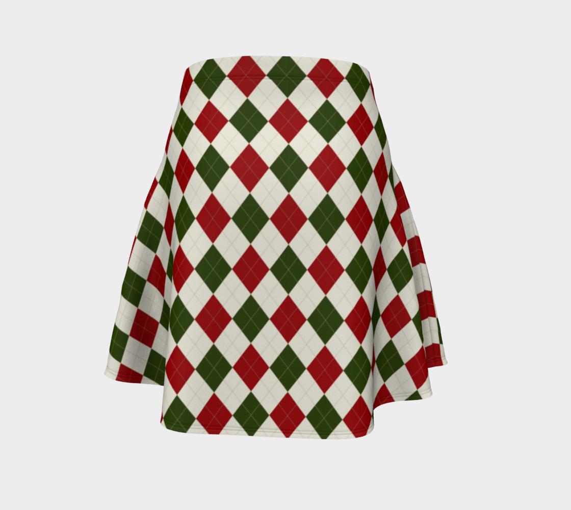 Aperçu de Christmas Argyle Flare Skirt #4