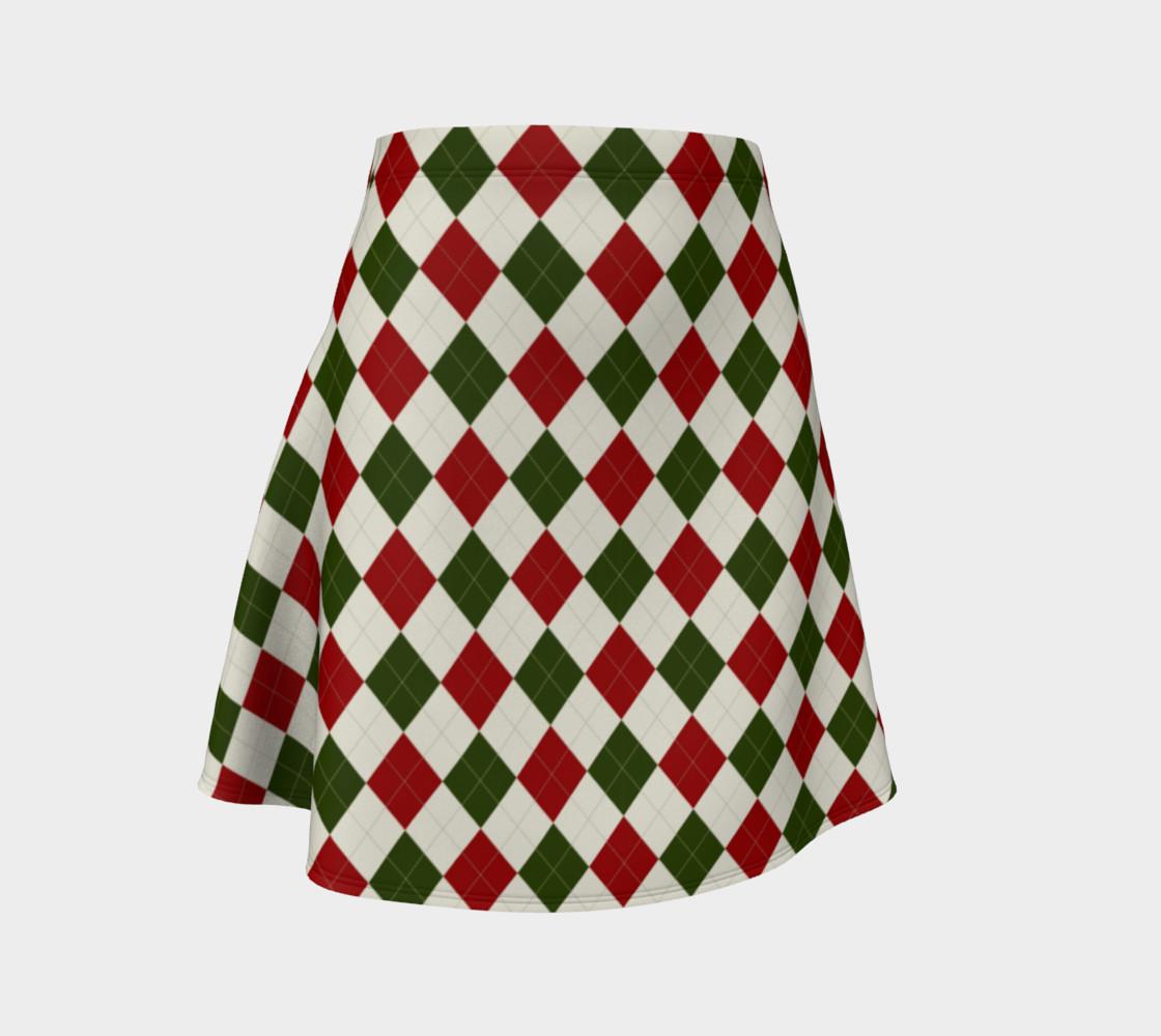 Aperçu de Christmas Argyle Flare Skirt #1