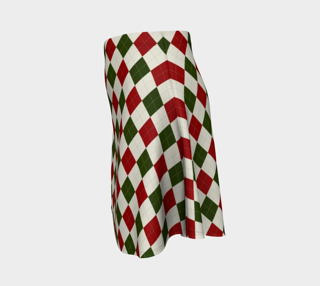 Aperçu de Christmas Argyle Flare Skirt #2