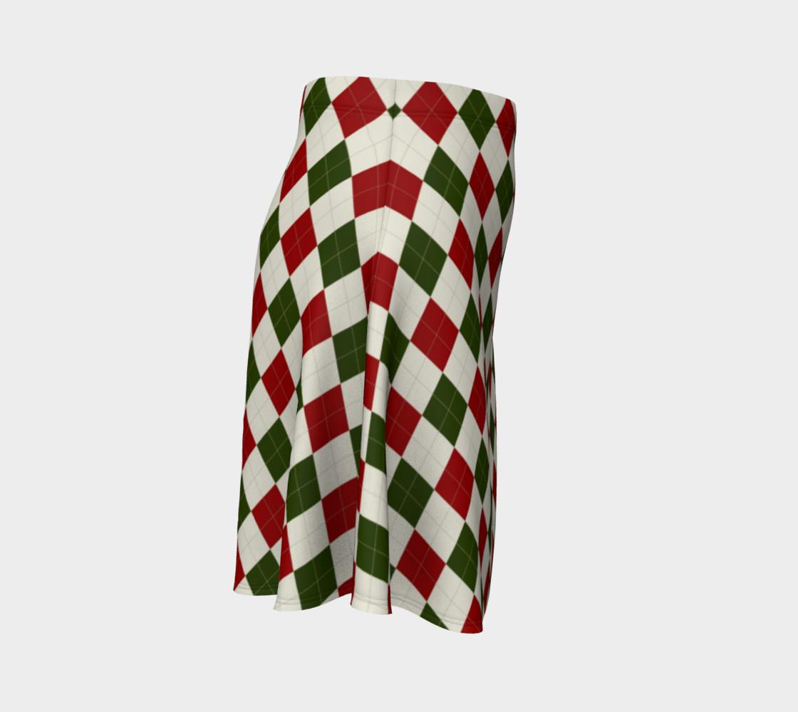 Aperçu de Christmas Argyle Flare Skirt #3