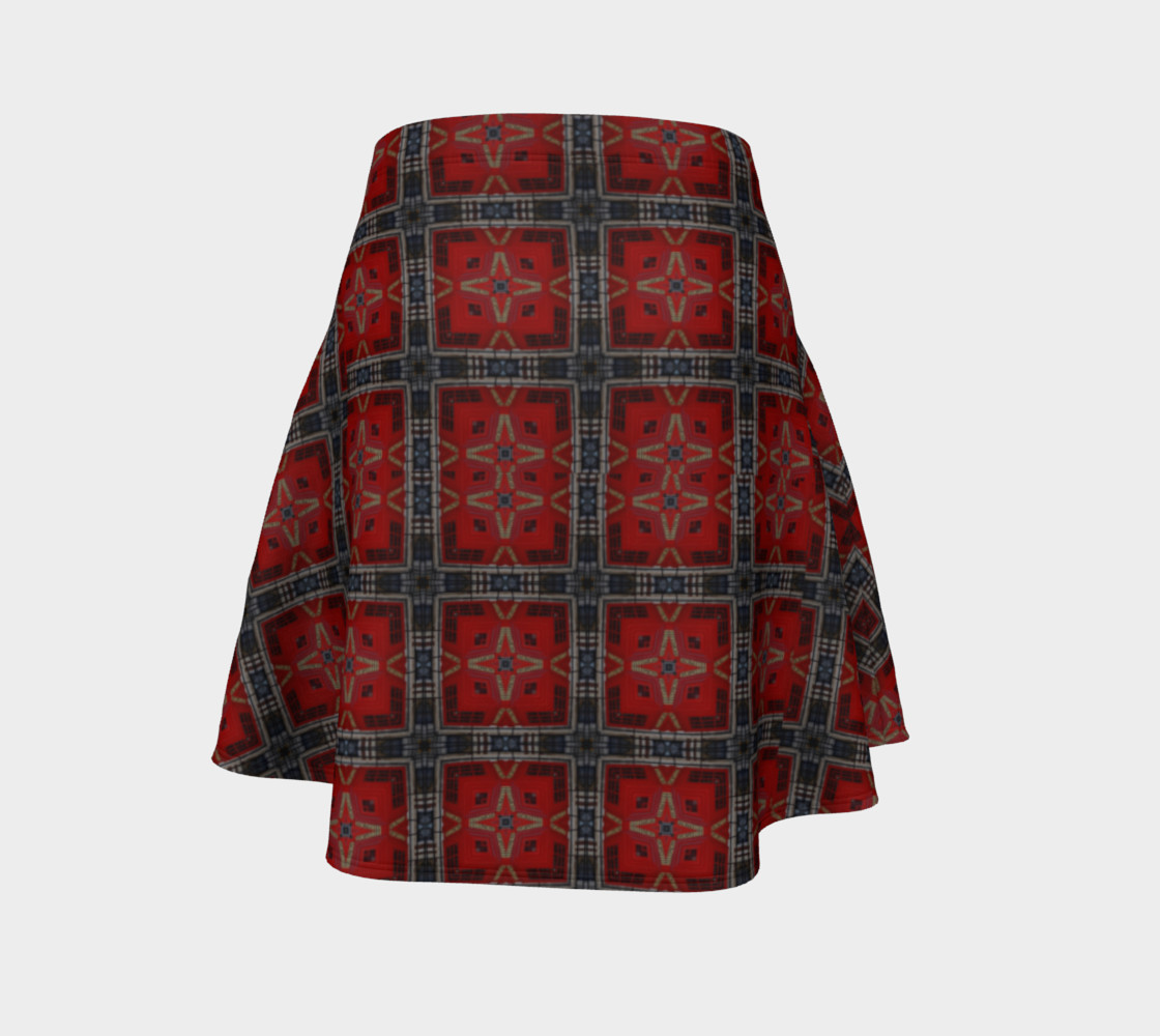 London Red Telephone Box Tartan Flared Skirt preview #4