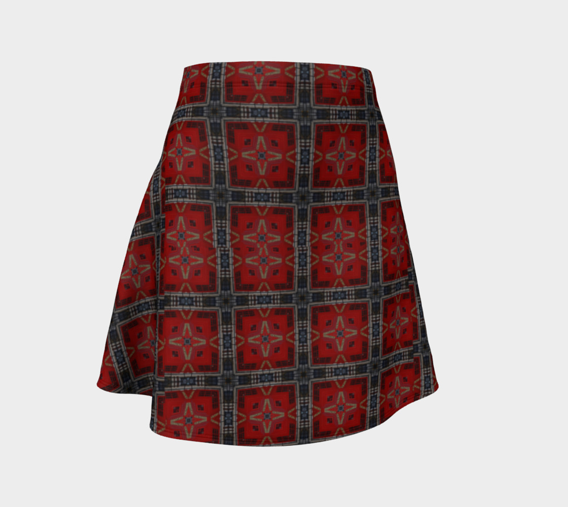 London Red Telephone Box Tartan Flared Skirt preview #1