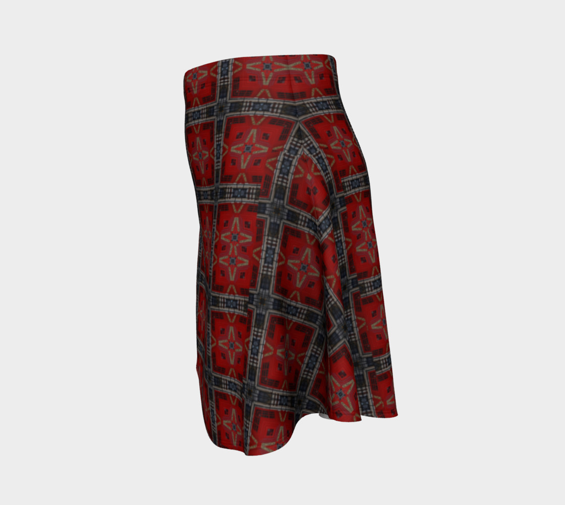 London Red Telephone Box Tartan Flared Skirt preview #2