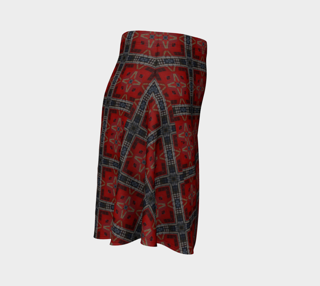 London Red Telephone Box Tartan Flared Skirt preview #3