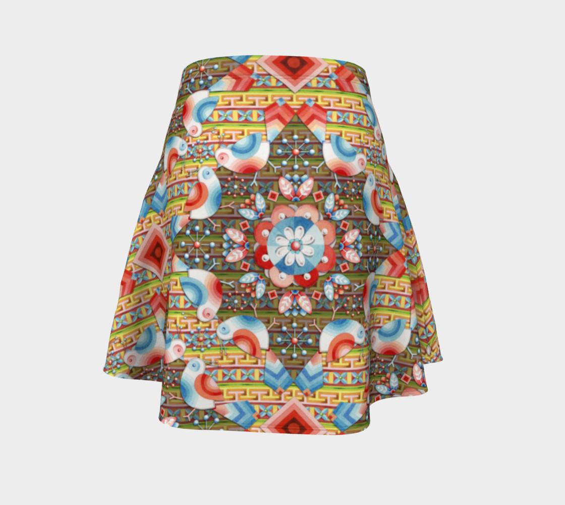 Heraldic Lovebird Flare Skirt preview #4