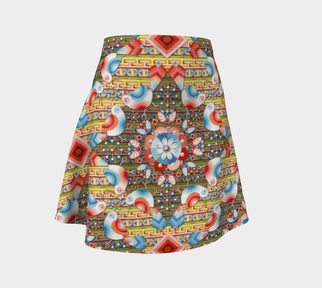 Heraldic Lovebird Flare Skirt preview #1