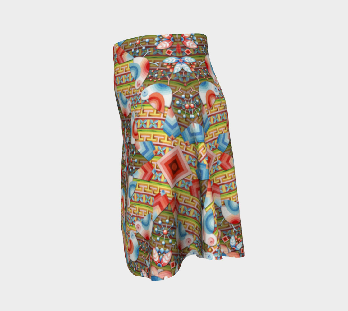 Heraldic Lovebird Flare Skirt preview #2