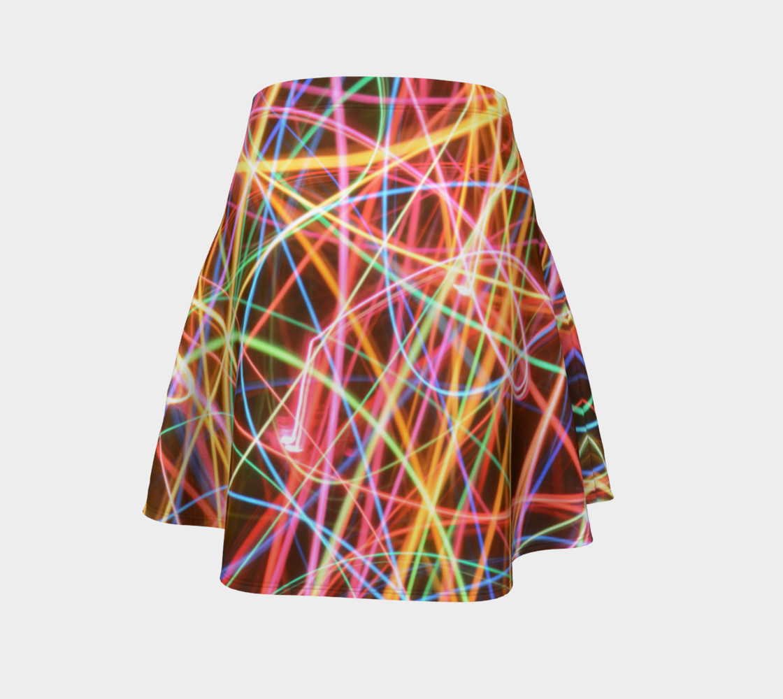 Christmas Light Trails Flare Skirt preview #4