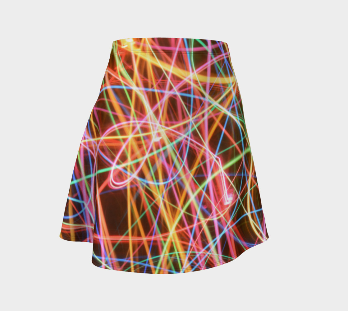 Christmas Light Trails Flare Skirt preview #1
