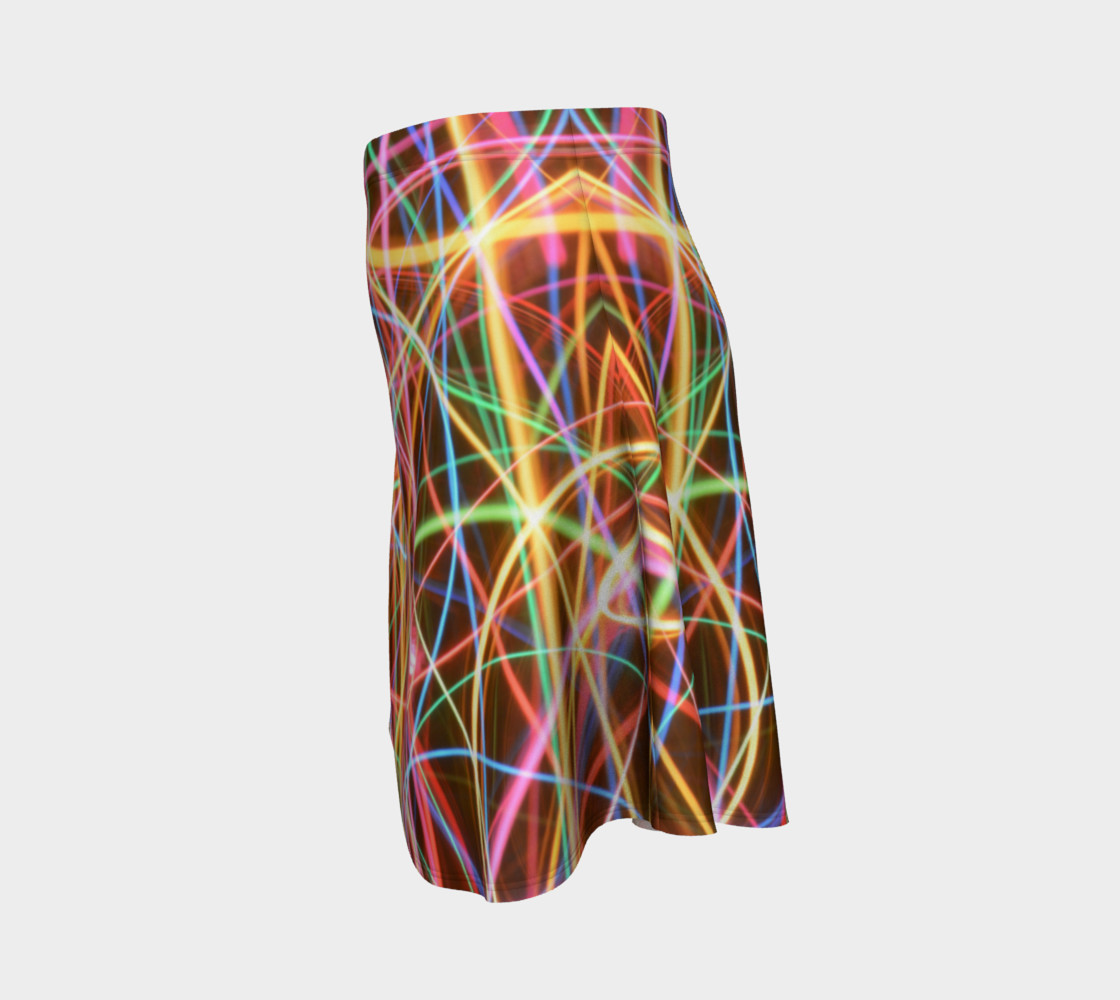 Christmas Light Trails Flare Skirt preview #2