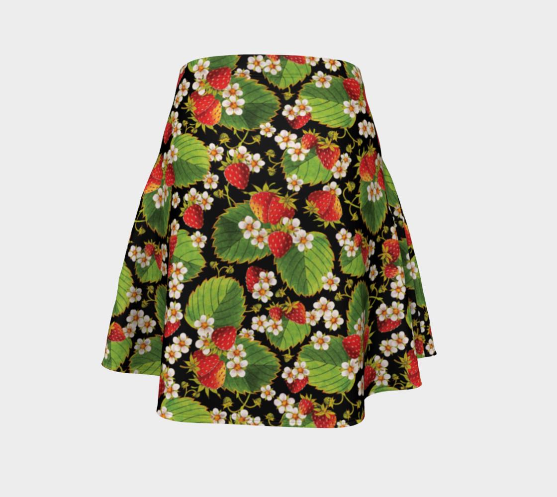 Aperçu de Strawberries on Black Flare Skirt #4