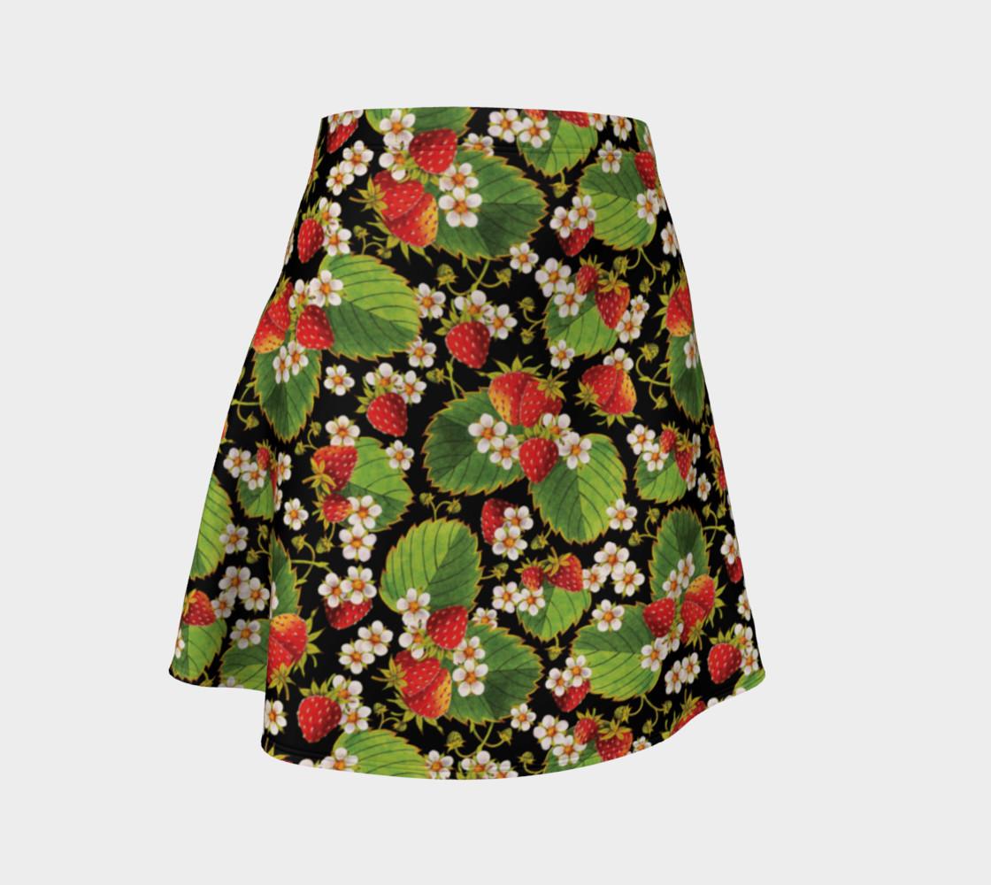 Aperçu de Strawberries on Black Flare Skirt #1