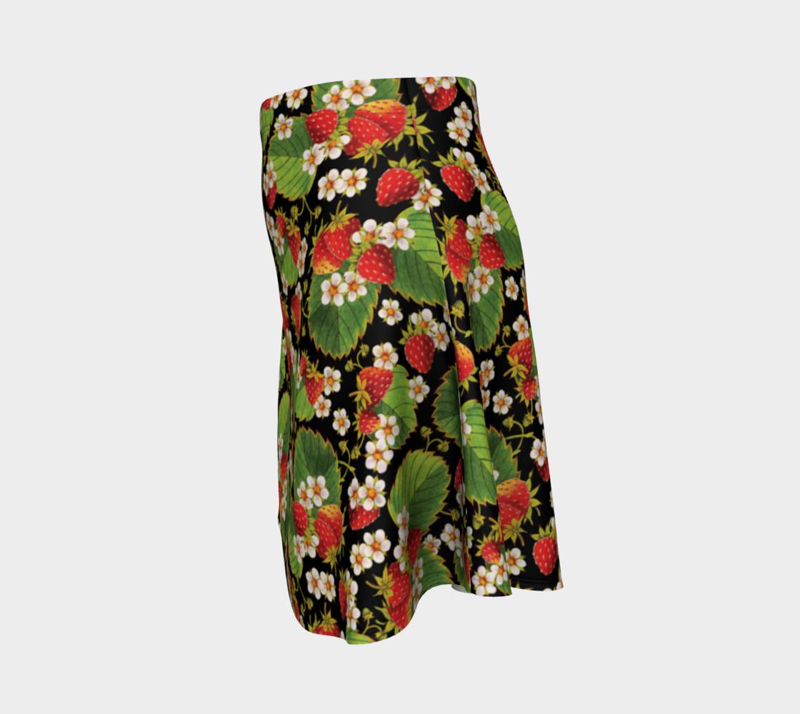 Aperçu de Strawberries on Black Flare Skirt #2