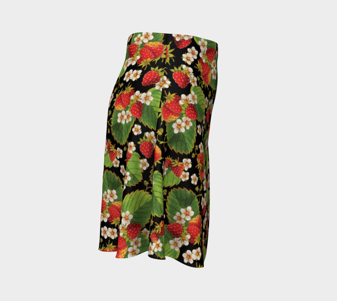 Aperçu de Strawberries on Black Flare Skirt #3