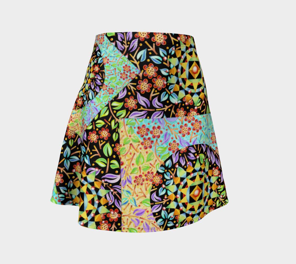 Aperçu de Filigree Floral Patchwork Flare Skirt 2 #1